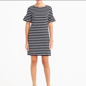 J. Crew Dresses - J Crew Ruffle Bell Short Sleeve Striped Dress Sm